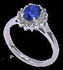 zaffiro blu su anello